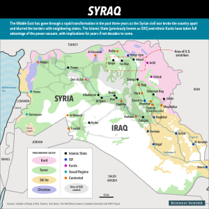 Map of Syria and Iraq and influence of forces