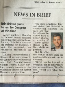 Assemblyman Anthony Brindisi reverses course on run for Congress